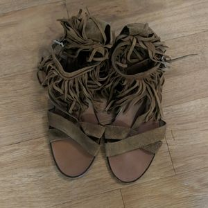Brown suede fringe Zara sandals